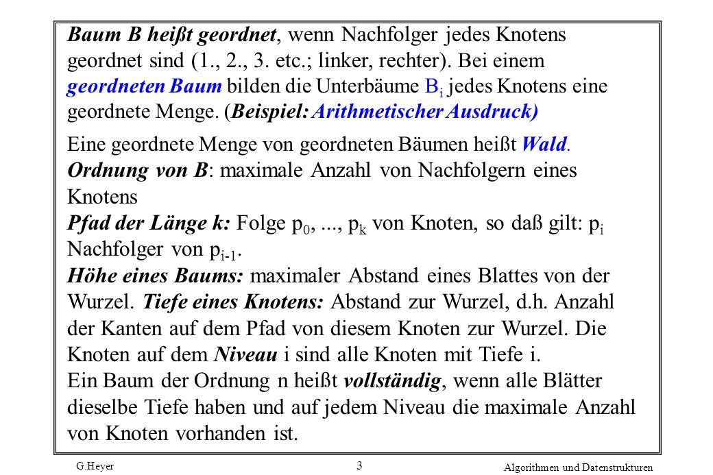 G.Heyer Algorithmen und Datenstrukturen 3 Baum B heißt geordnet, wenn Nachfolger jedes Knotens geordnet sind (1., 2., 3.