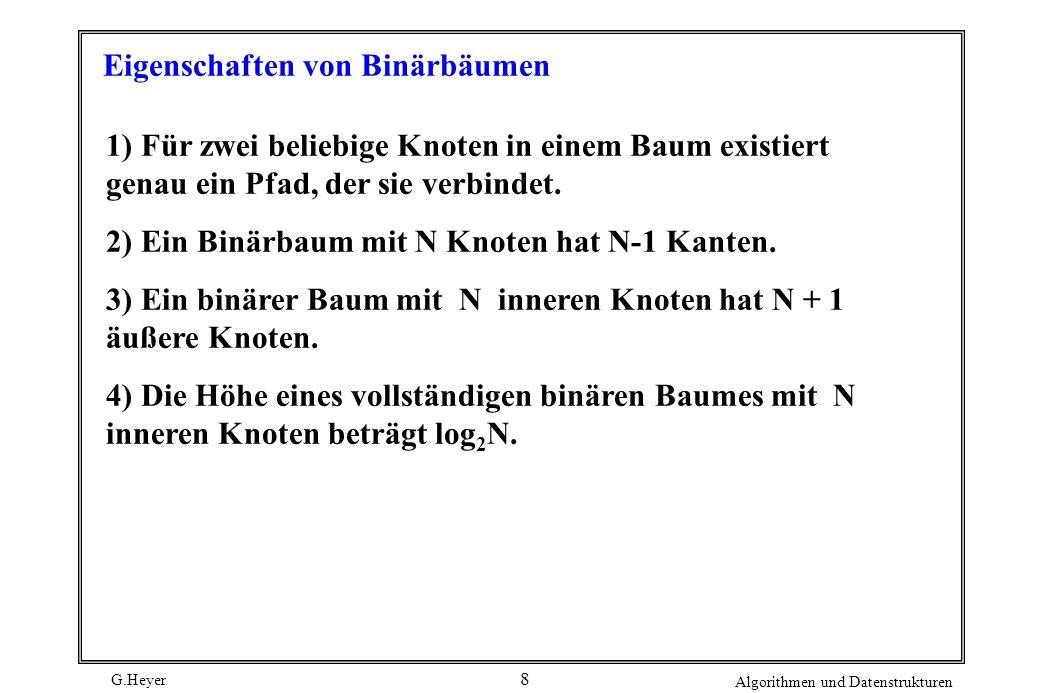 G.Heyer Algorithmen und Datenstrukturen 8 Eigenschaften von Binärbäumen 1) Für zwei beliebige Knoten in einem Baum existiert genau ein Pfad, der sie verbindet.
