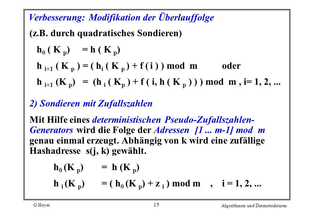 G.Heyer Algorithmen und Datenstrukturen 15 Verbesserung: Modifikation der Überlauffolge (z.B. durch quadratisches Sondieren) h 0 ( K p ) = h ( K p ) h
