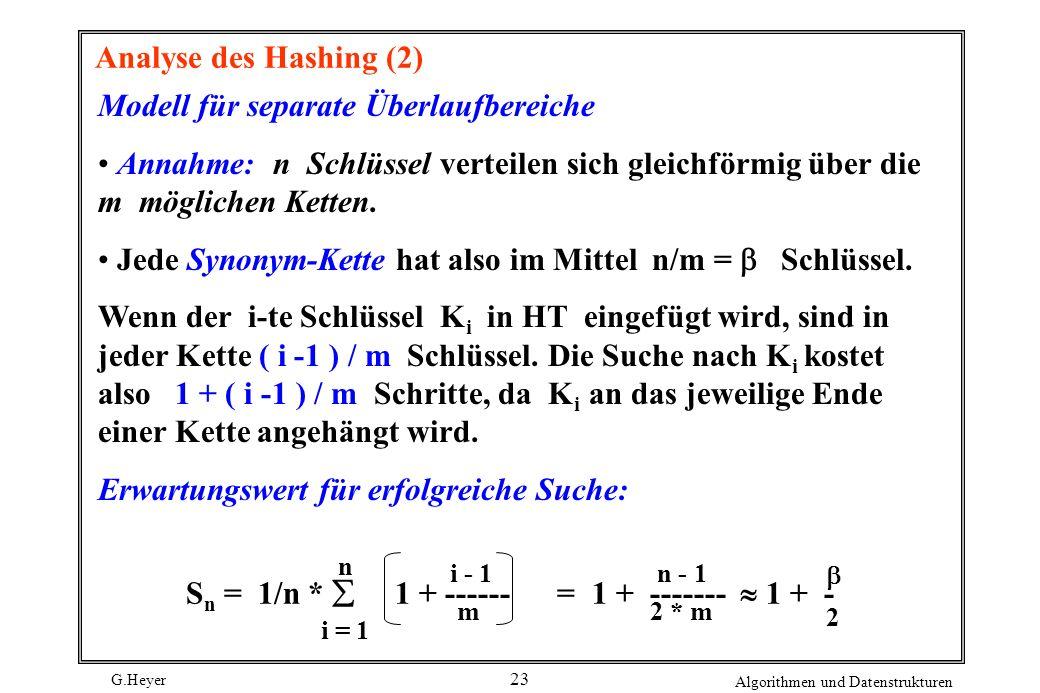 G.Heyer Algorithmen und Datenstrukturen 23 Analyse des Hashing (2) Modell für separate Überlaufbereiche Annahme: n Schlüssel verteilen sich gleichförmig über die m möglichen Ketten.