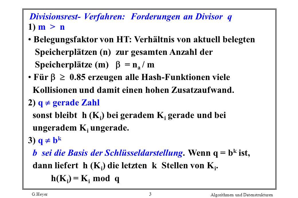 G.Heyer Algorithmen und Datenstrukturen 3 Divisionsrest- Verfahren: Forderungen an Divisor q 1) m > n Belegungsfaktor von HT: Verhältnis von aktuell belegten Speicherplätzen (n) zur gesamten Anzahl der Speicherplätze (m) = n a / m Für 0.85 erzeugen alle Hash-Funktionen viele Kollisionen und damit einen hohen Zusatzaufwand.