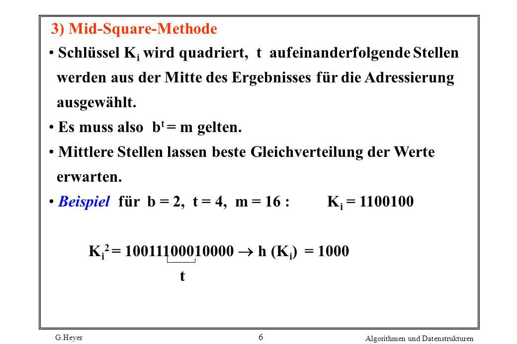 G.Heyer Algorithmen und Datenstrukturen 6 3) Mid-Square-Methode Schlüssel K i wird quadriert, t aufeinanderfolgende Stellen werden aus der Mitte des E