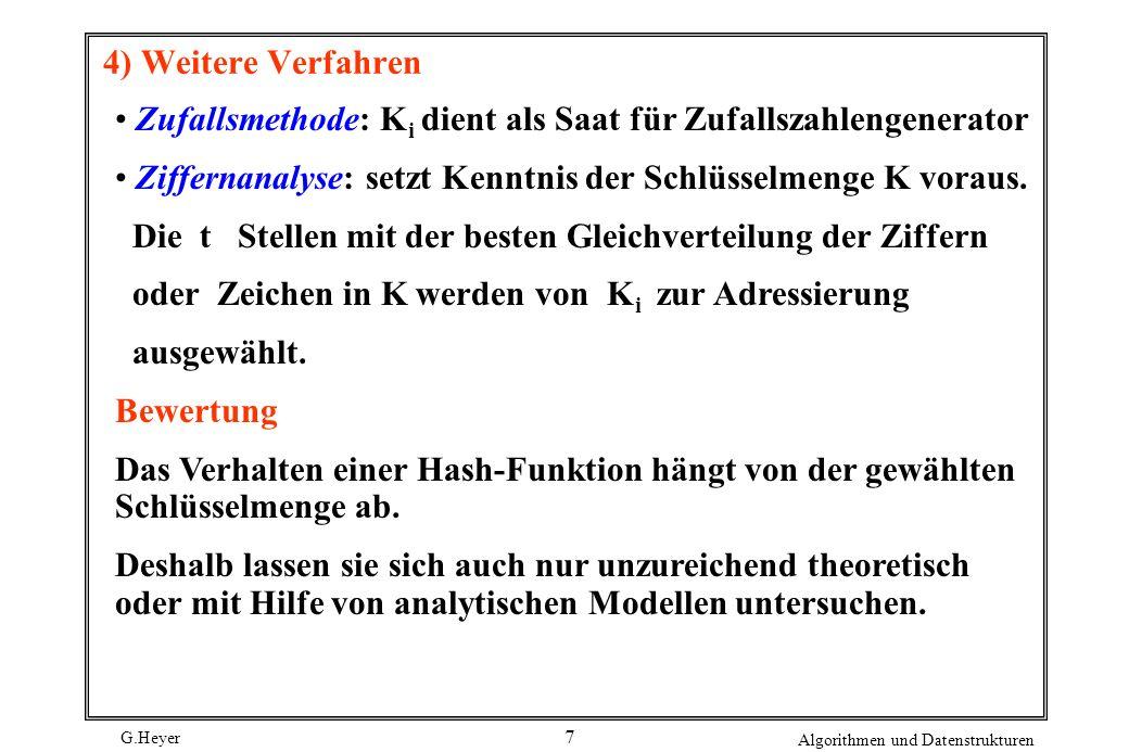 G.Heyer Algorithmen und Datenstrukturen 28 Zusammenfassung Hash-Funktion berechnet Speicheradresse des Satzes zielt auf bestmögliche Gleichverteilung der Sätze im Hash-Bereich Hashing bietet im Vergleich zu Bäumen eine eingeschränkte Funktionalität direkter Schlüsselzugriff i.