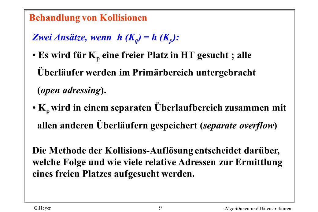 G.Heyer Algorithmen und Datenstrukturen 9 Behandlung von Kollisionen Zwei Ansätze, wenn h (K q ) = h (K p ): Es wird für K p eine freier Platz in HT gesucht ; alle Überläufer werden im Primärbereich untergebracht (open adressing).