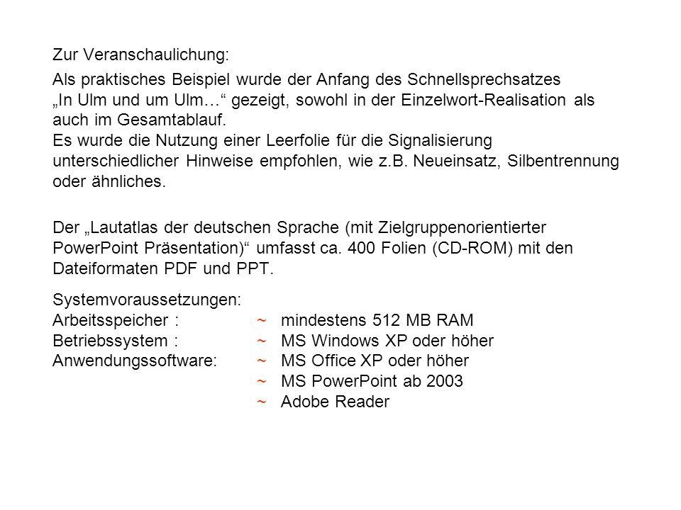 Zur Veranschaulichung: Als praktisches Beispiel wurde der Anfang des Schnellsprechsatzes In Ulm und um Ulm… gezeigt, sowohl in der Einzelwort-Realisat
