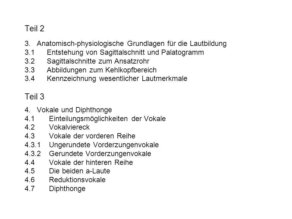 Teil 2 3. Anatomisch-physiologische Grundlagen für die Lautbildung 3.1 Entstehung von Sagittalschnitt und Palatogramm 3.2 Sagittalschnitte zum Ansatzr