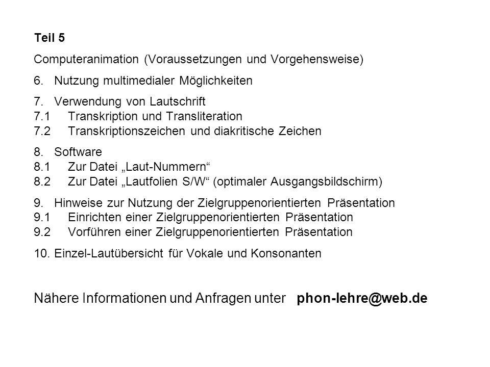 Teil 5 Computeranimation (Voraussetzungen und Vorgehensweise) 6. Nutzung multimedialer Möglichkeiten 7. Verwendung von Lautschrift 7.1 Transkription u