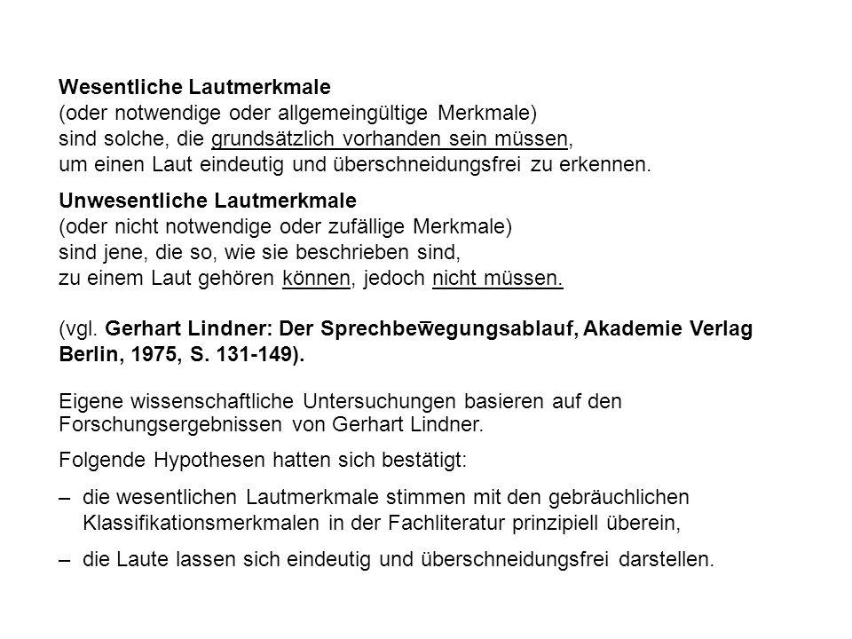 Der Stand der wissenschaftlichen Erkenntnisse von Lindner und die Unzulänglichkeiten des Wängler-Atlas bildeten die Ausgangssituation für den Laut-Atlas der deutschen Sprache (Müller).