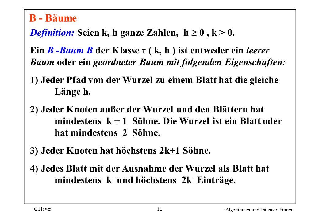 G.Heyer Algorithmen und Datenstrukturen 11 B - Bäume Definition: Seien k, h ganze Zahlen, h 0, k > 0.