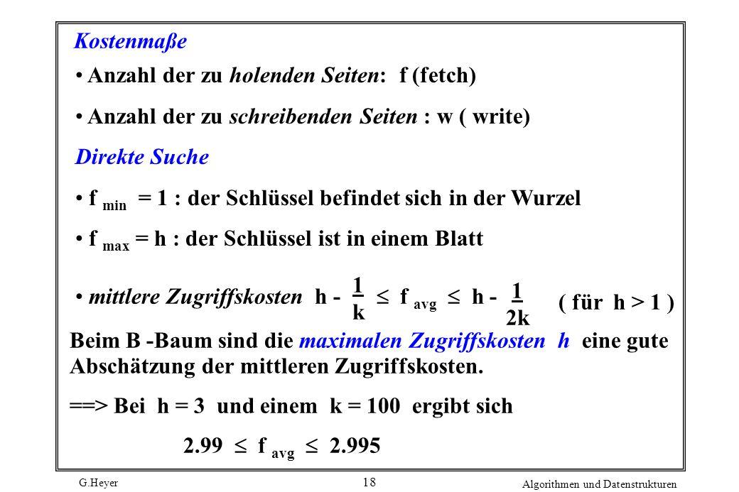 G.Heyer Algorithmen und Datenstrukturen 18 Kostenmaße Anzahl der zu holenden Seiten: f (fetch) Anzahl der zu schreibenden Seiten : w ( write) Direkte Suche f min = 1 : der Schlüssel befindet sich in der Wurzel f max = h : der Schlüssel ist in einem Blatt mittlere Zugriffskosten h - 1k1k f avg h - 1 2k ( für h > 1 ) Beim B -Baum sind die maximalen Zugriffskosten h eine gute Abschätzung der mittleren Zugriffskosten.