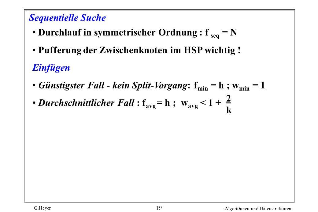 G.Heyer Algorithmen und Datenstrukturen 19 Sequentielle Suche Durchlauf in symmetrischer Ordnung : f seq = N Pufferung der Zwischenknoten im HSP wichtig .