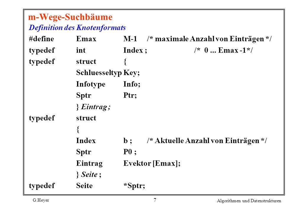 G.Heyer Algorithmen und Datenstrukturen 7 m-Wege-Suchbäume Definition des Knotenformats #define EmaxM-1/* maximale Anzahl von Einträgen */ typedefintIndex ;/* 0...