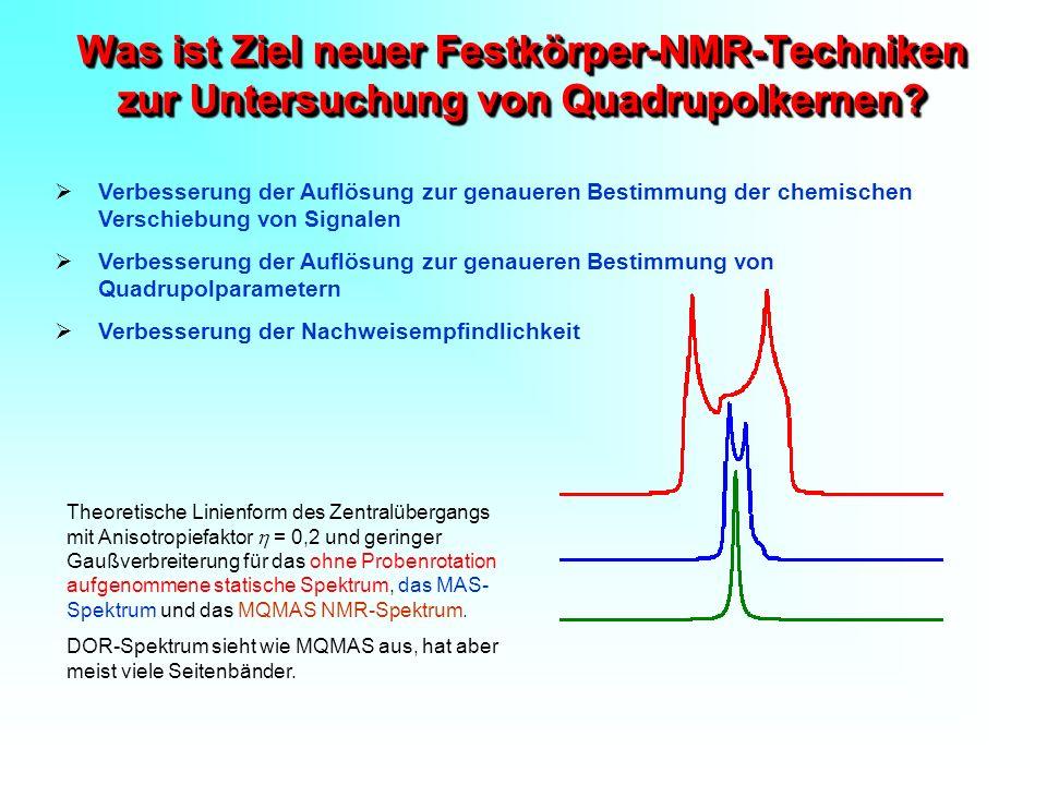 Was ist Ziel neuer Festkörper-NMR-Techniken zur Untersuchung von Quadrupolkernen? Verbesserung der Auflösung zur genaueren Bestimmung der chemischen V