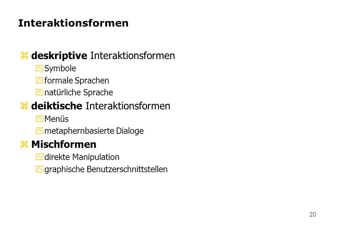 20 Interaktionsformen zdeskriptive Interaktionsformen ySymbole yformale Sprachen ynatürliche Sprache zdeiktische Interaktionsformen yMenüs ymetaphernb