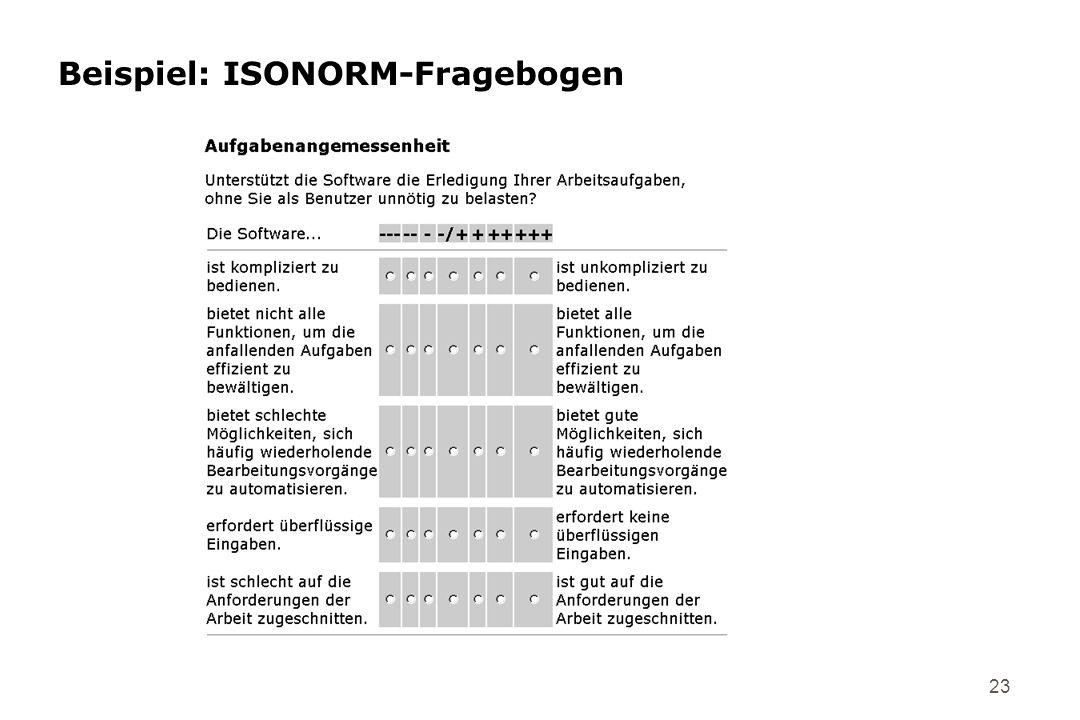 23 Beispiel: ISONORM-Fragebogen