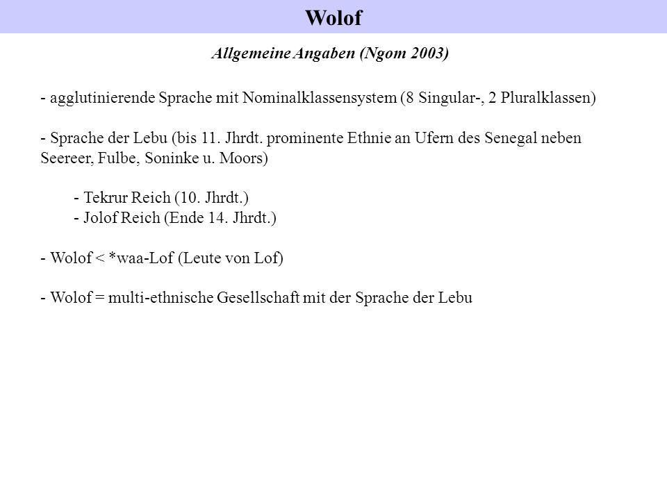 Allgemeine Angaben (Ngom 2003) - agglutinierende Sprache mit Nominalklassensystem (8 Singular-, 2 Pluralklassen) - Sprache der Lebu (bis 11. Jhrdt. pr