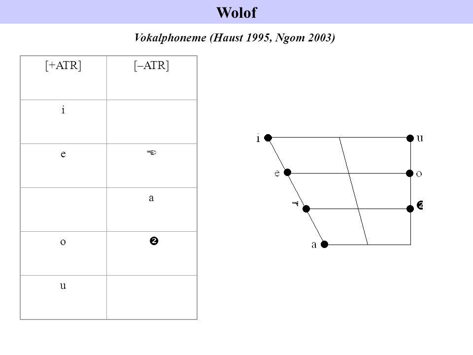 Wolof Vokalphoneme (Haust 1995, Ngom 2003) [+ATR][–ATR] i e E a o  u