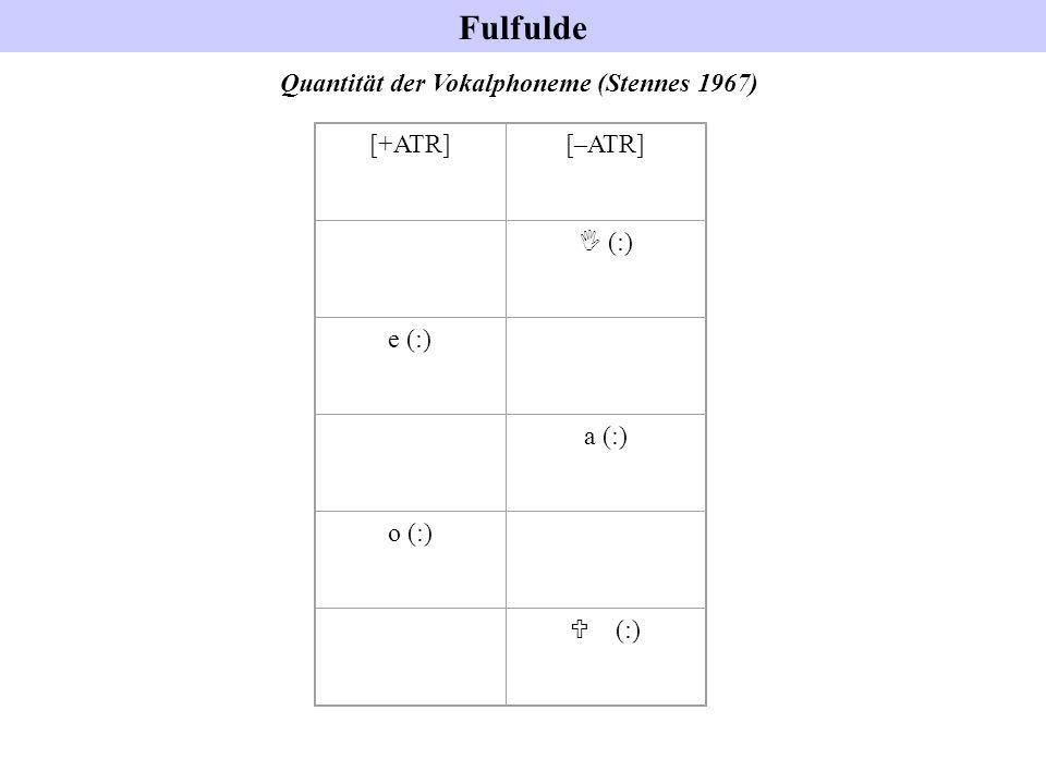 Fulfulde Quantität der Vokalphoneme (Stennes 1967) [+ATR][–ATR] I (:) e (:) a (:) o (:) U (:)