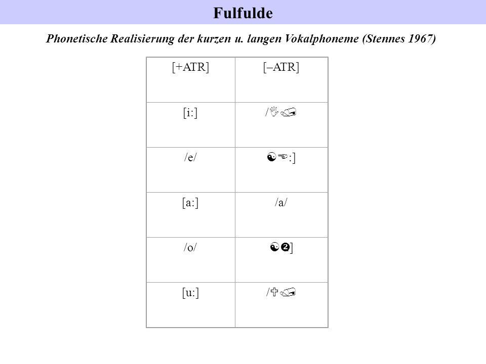 Fulfulde Phonetische Realisierung der kurzen u. langen Vokalphoneme (Stennes 1967) [+ATR][–ATR] [i:] / I/ /e/ [E :] [a:]/a/ /o/ [ :] [u:] / U/