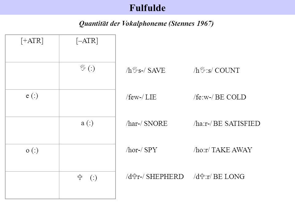 Fulfulde Quantität der Vokalphoneme (Stennes 1967) /h I s-/ SAVE /h I :s/ COUNT /few-/ LIE /fe:w-/ BE COLD /har-/ SNORE /ha:r-/ BE SATISFIED /hor-/ SP