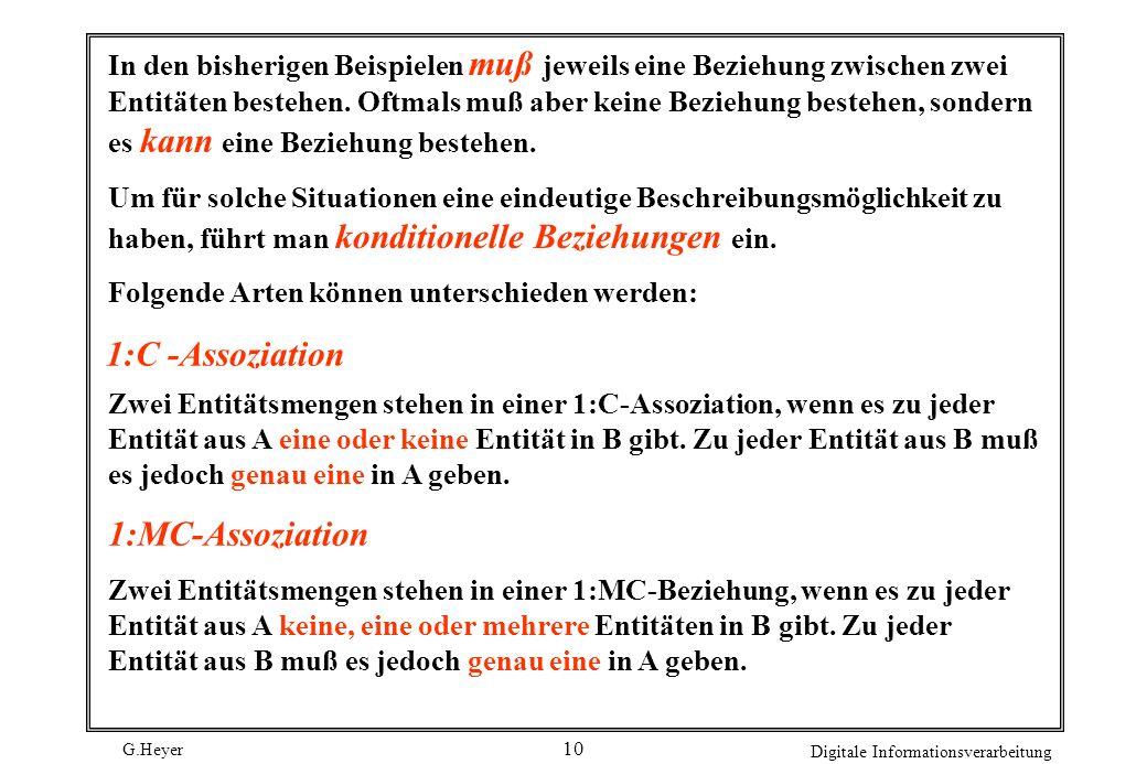 G.Heyer Digitale Informationsverarbeitung 10 1:C -Assoziation In den bisherigen Beispielen muß jeweils eine Beziehung zwischen zwei Entitäten bestehen