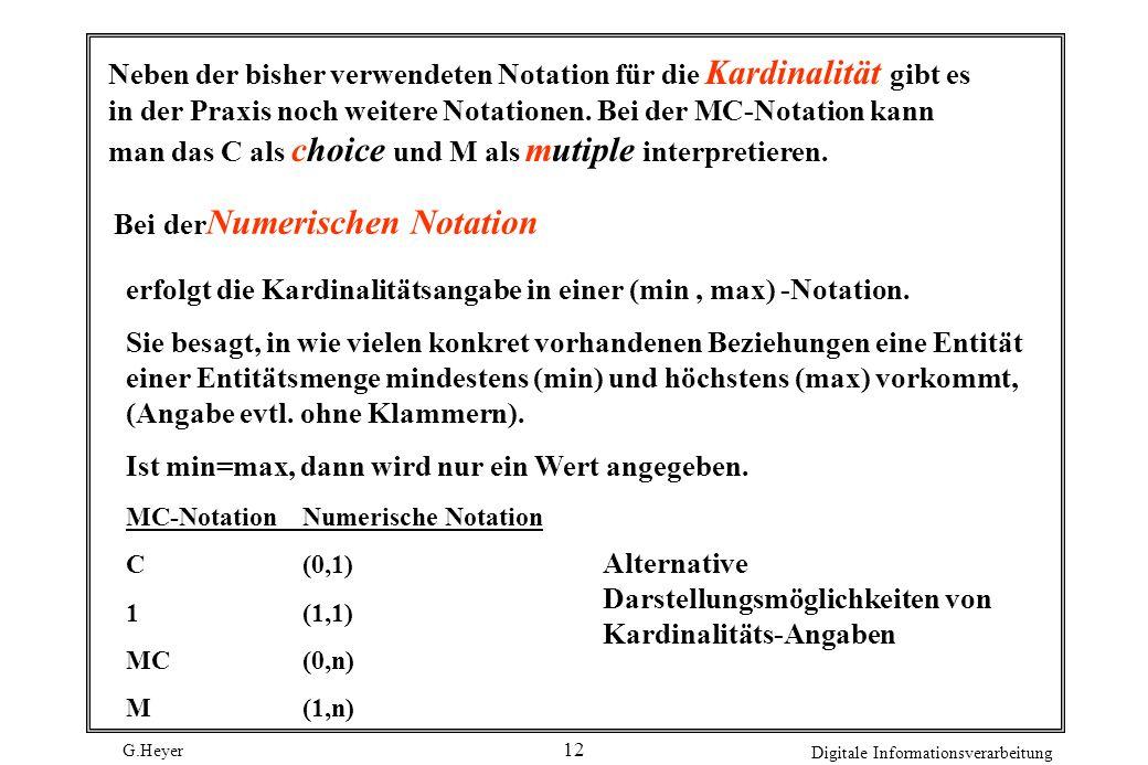 G.Heyer Digitale Informationsverarbeitung 12 Bei der Numerischen Notation Neben der bisher verwendeten Notation für die Kardinalität gibt es in der Pr
