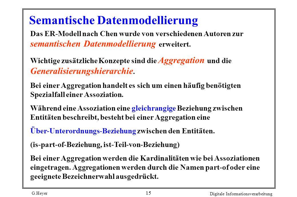 G.Heyer Digitale Informationsverarbeitung 15 Semantische Datenmodellierung Das ER-Modell nach Chen wurde von verschiedenen Autoren zur semantischen Da