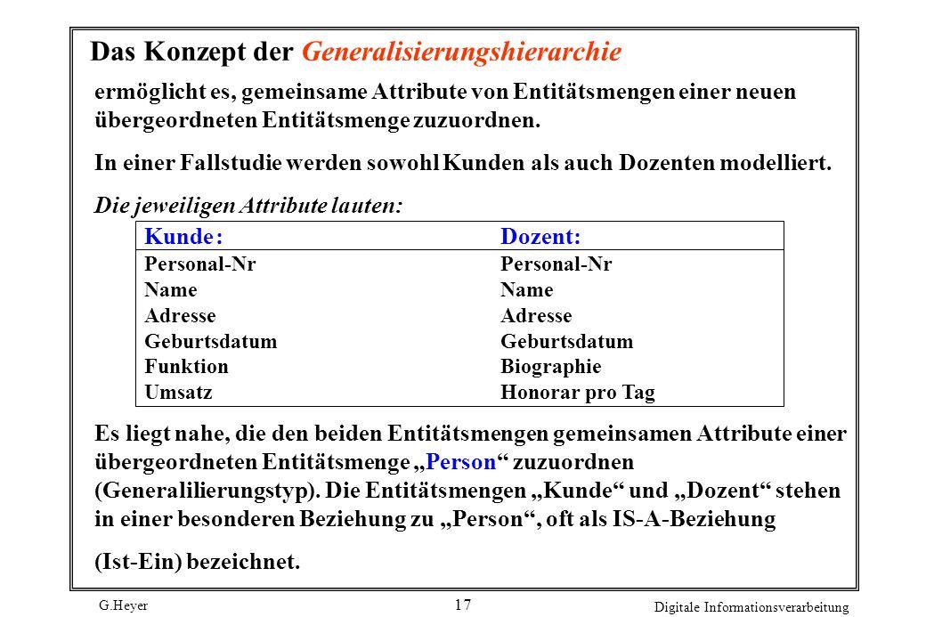 G.Heyer Digitale Informationsverarbeitung 17 Das Konzept der Generalisierungshierarchie ermöglicht es, gemeinsame Attribute von Entitätsmengen einer n