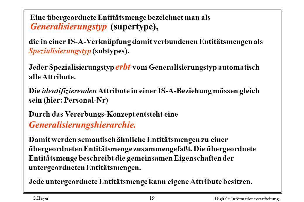 G.Heyer Digitale Informationsverarbeitung 19 Eine übergeordnete Entitätsmenge bezeichnet man als Generalisierungstyp (supertype), die in einer IS-A-Ve