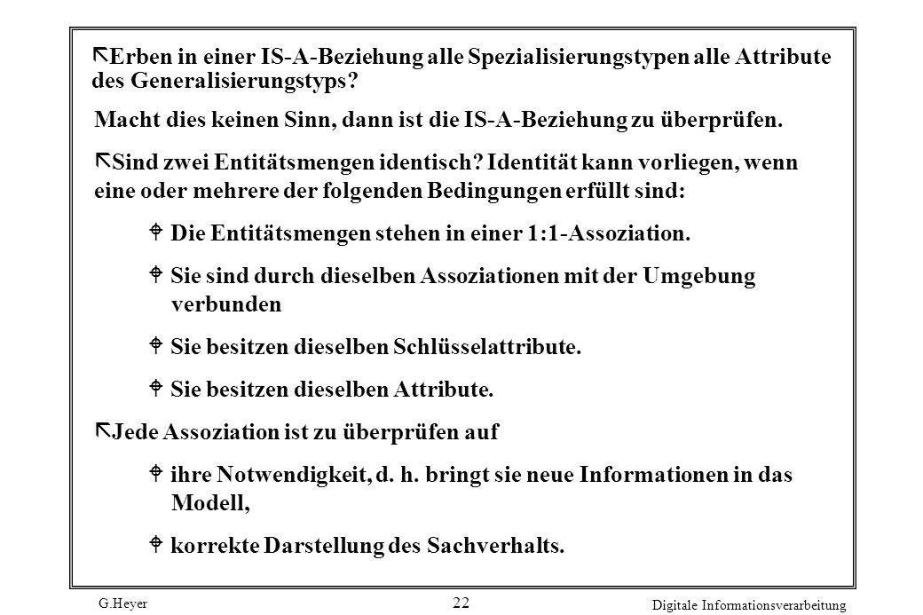 G.Heyer Digitale Informationsverarbeitung 22 ã Erben in einer IS-A-Beziehung alle Spezialisierungstypen alle Attribute des Generalisierungstyps? Macht