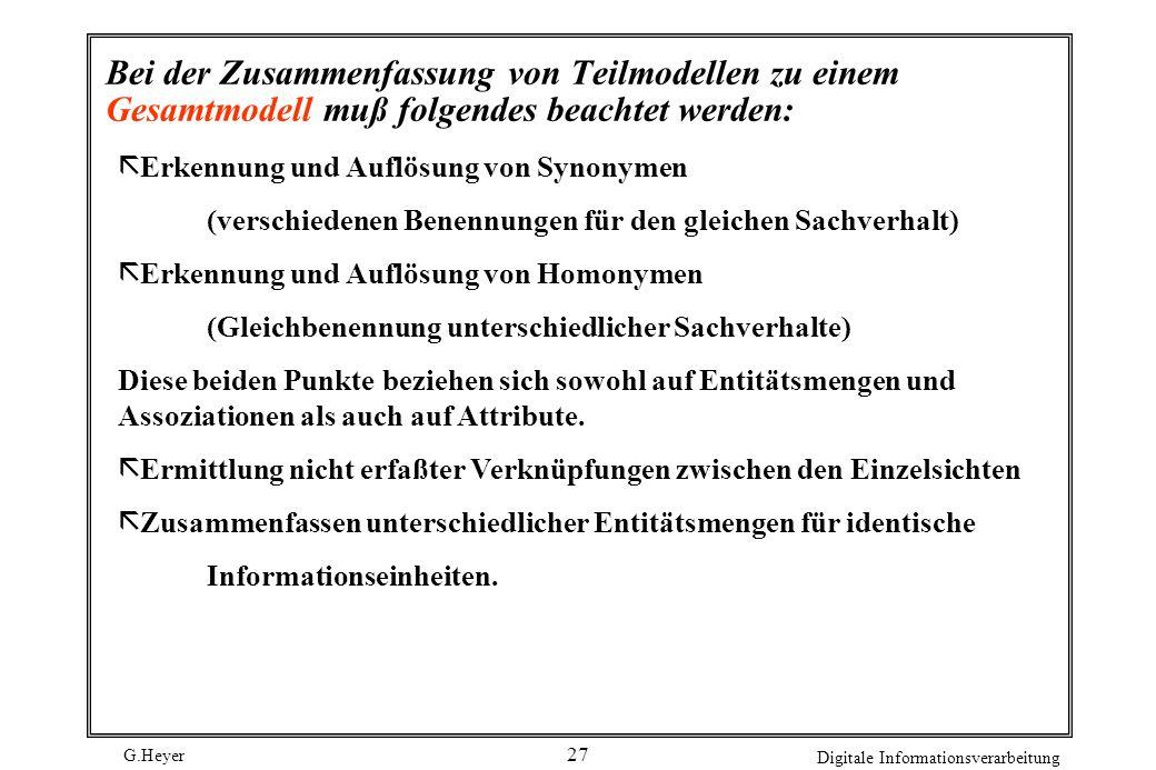 G.Heyer Digitale Informationsverarbeitung 27 Bei der Zusammenfassung von Teilmodellen zu einem Gesamtmodell muß folgendes beachtet werden: ã Erkennung
