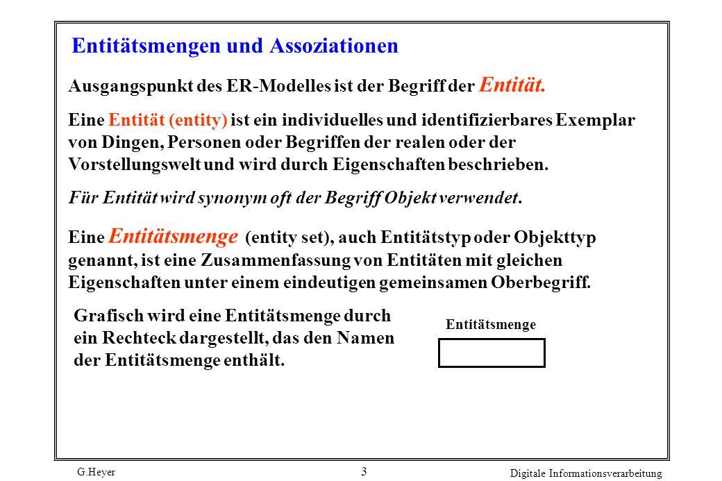 G.Heyer Digitale Informationsverarbeitung 3 Entitätsmengen und Assoziationen Ausgangspunkt des ER-Modelles ist der Begriff der Entität. Eine Entität (