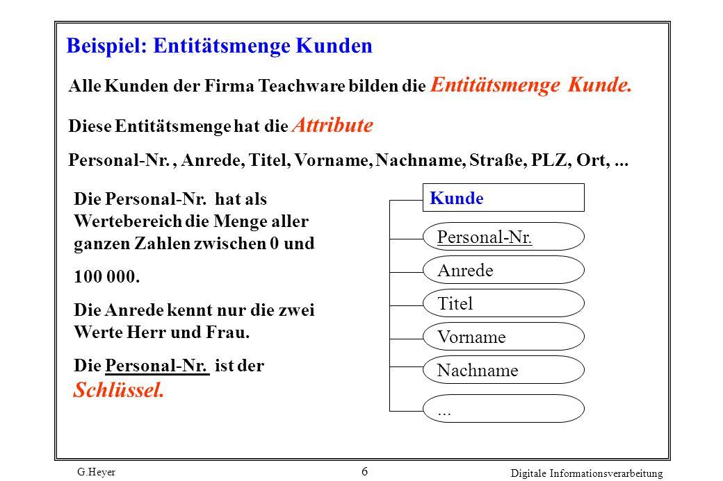G.Heyer Digitale Informationsverarbeitung 6 Beispiel: Entitätsmenge Kunden Alle Kunden der Firma Teachware bilden die Entitätsmenge Kunde. Diese Entit