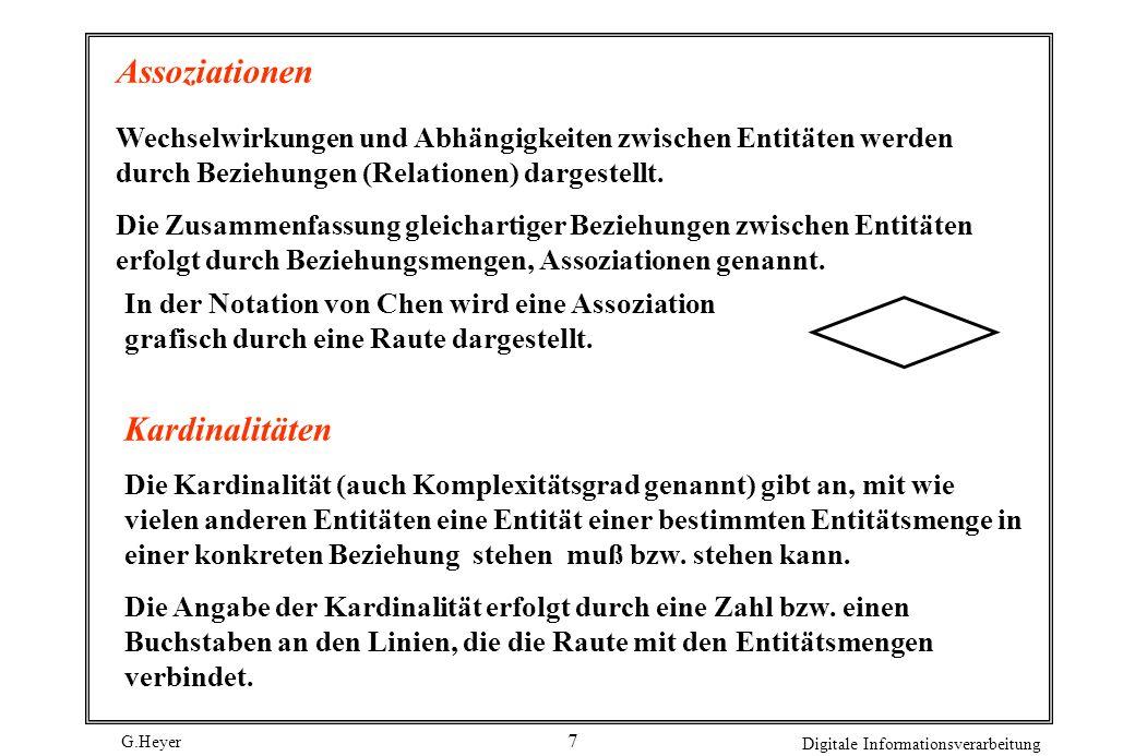 G.Heyer Digitale Informationsverarbeitung 7 Assoziationen Wechselwirkungen und Abhängigkeiten zwischen Entitäten werden durch Beziehungen (Relationen)