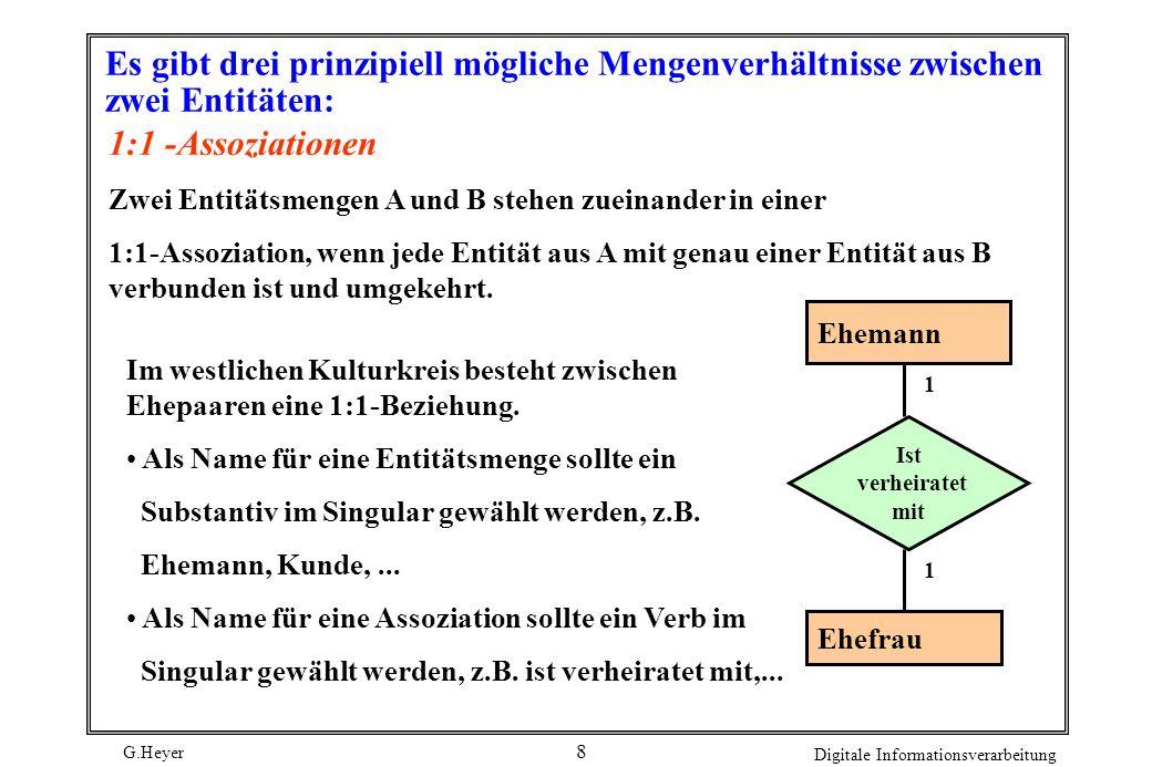 G.Heyer Digitale Informationsverarbeitung 8 Es gibt drei prinzipiell mögliche Mengenverhältnisse zwischen zwei Entitäten: 1:1 -Assoziationen Zwei Enti