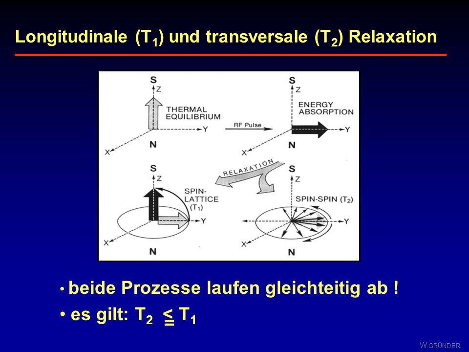 W. GRÜNDER mit Frequenz ω oszillierende Quermagnetisierung induziert Wechselspannung gleicher Frequenz in der Empfangsspule Signalamplitude nimmt mit