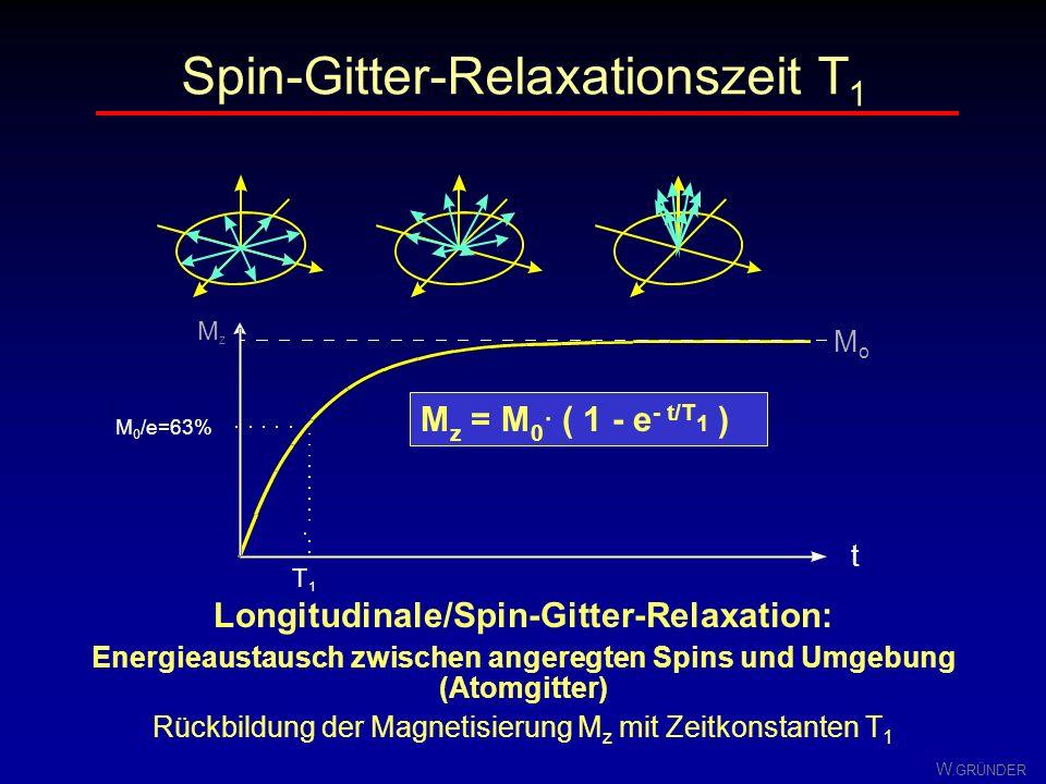 W. GRÜNDER Aufbau der z-Komponente der Magnetisierung M z zu M 0 nur Teil der emittierten Energie nachweisbar als HF-Signal (Wärme) Angeregte Spins (P