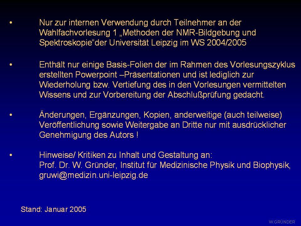 W. GRÜNDER NMR-Grundlagen