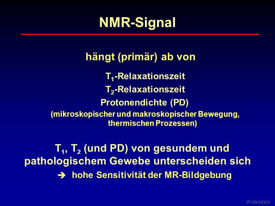 W. GRÜNDER Zusammenfassung Relaxation nach Anregung des Spinsystems durch Einstrahlung von HF- Energie strebt es wieder seinem thermodynamischen Gleic