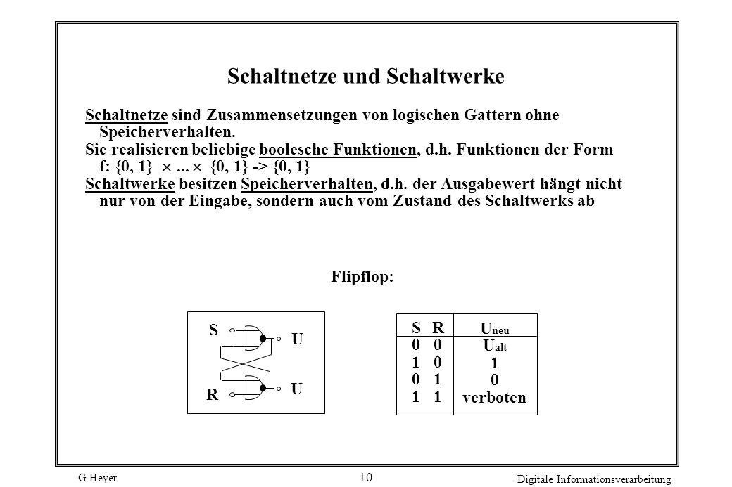 G.Heyer Digitale Informationsverarbeitung 10 Schaltnetze und Schaltwerke Schaltnetze sind Zusammensetzungen von logischen Gattern ohne Speicherverhalt