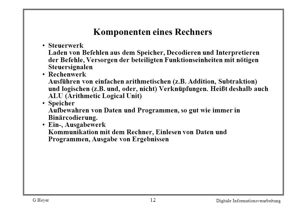 G.Heyer Digitale Informationsverarbeitung 12 Komponenten eines Rechners Steuerwerk Laden von Befehlen aus dem Speicher, Decodieren und Interpretieren