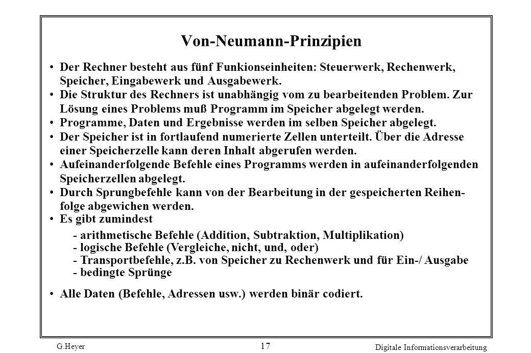 G.Heyer Digitale Informationsverarbeitung 17 Von-Neumann-Prinzipien Der Rechner besteht aus fünf Funkionseinheiten: Steuerwerk, Rechenwerk, Speicher,