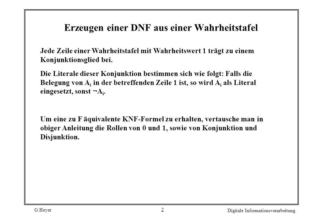 G.Heyer Digitale Informationsverarbeitung 2 Erzeugen einer DNF aus einer Wahrheitstafel Jede Zeile einer Wahrheitstafel mit Wahrheitswert 1 trägt zu e