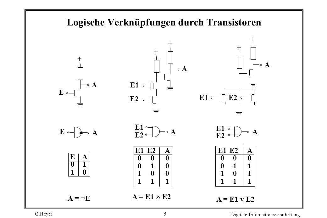 G.Heyer Digitale Informationsverarbeitung 3 Logische Verknüpfungen durch Transistoren + E A + A + E1 E2 + A + E1 E A A E2 E1 A E2 E01E01 A10A10 E1 0 1