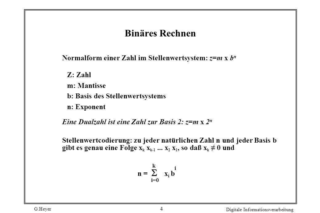 G.Heyer Digitale Informationsverarbeitung 4 Binäres Rechnen Stellenwertcodierung: zu jeder natürlichen Zahl n und jeder Basis b gibt es genau eine Fol