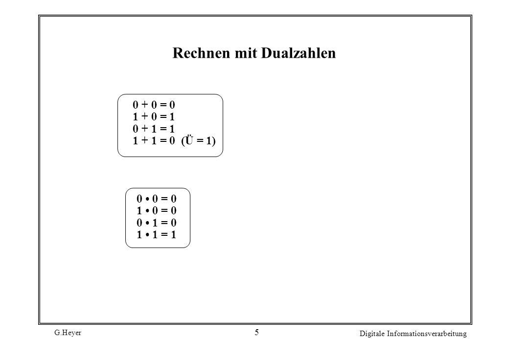 G.Heyer Digitale Informationsverarbeitung 5 Rechnen mit Dualzahlen 0 + 0 = 0 1 + 0 = 1 0 + 1 = 1 1 + 1 = 0 (Ü = 1) 0 0 = 0 1 0 = 0 0 1 = 0 1 1 = 1
