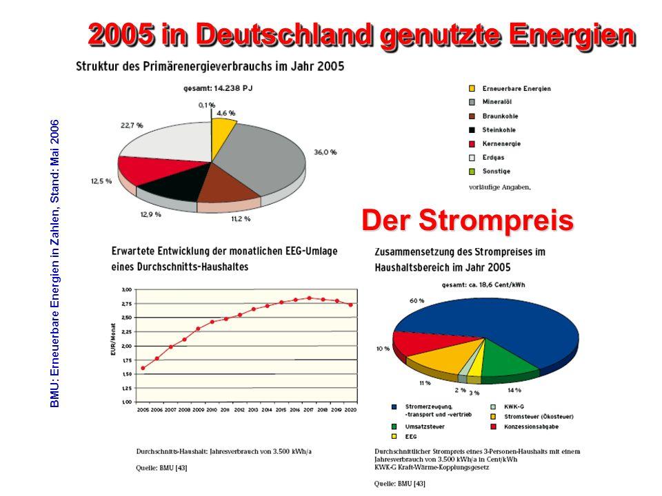 BMU: Erneuerbare Energien in Zahlen, Stand: Mai 2006 2005 in Deutschland genutzte Energien Der Strompreis