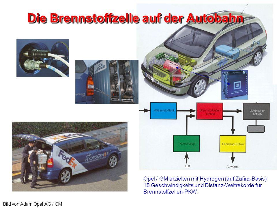 Bild von Adam Opel AG / GM Die Brennstoffzelle auf der Autobahn Opel / GM erzielten mit Hydrogen (auf Zafira-Basis) 15 Geschwindigkeits und Distanz-We