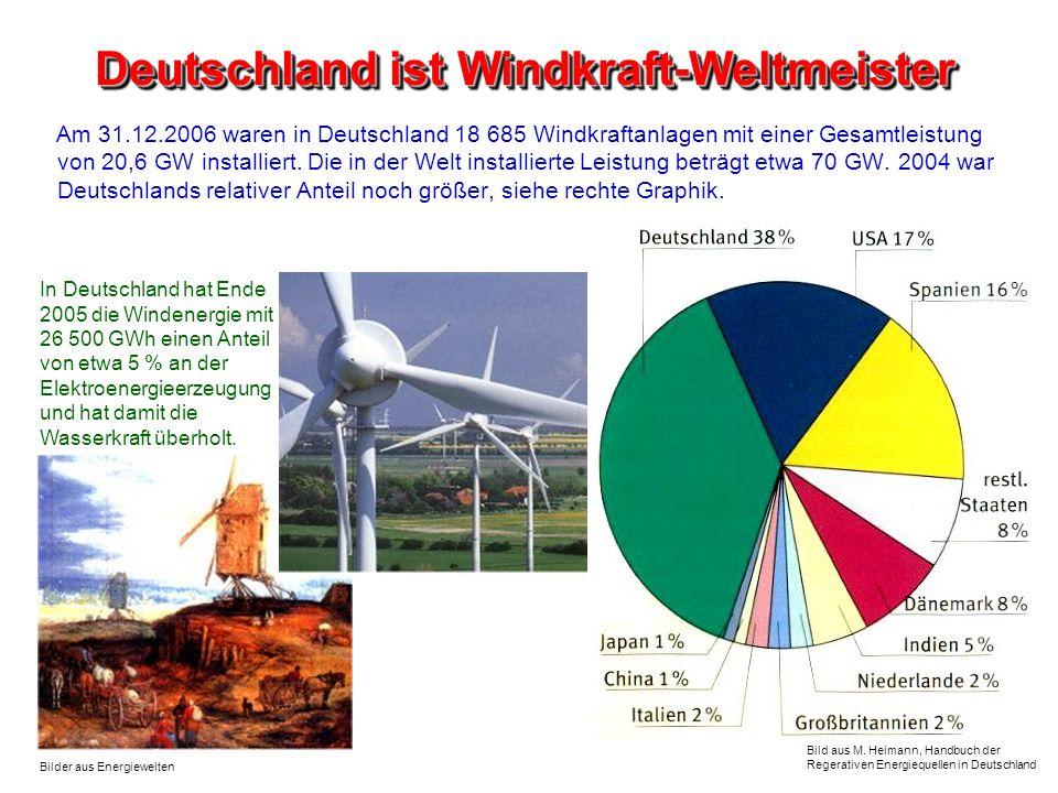 Deutschland ist Windkraft-Weltmeister Bild aus M. Heimann, Handbuch der Regerativen Energiequellen in Deutschland Am 31.12.2006 waren in Deutschland 1