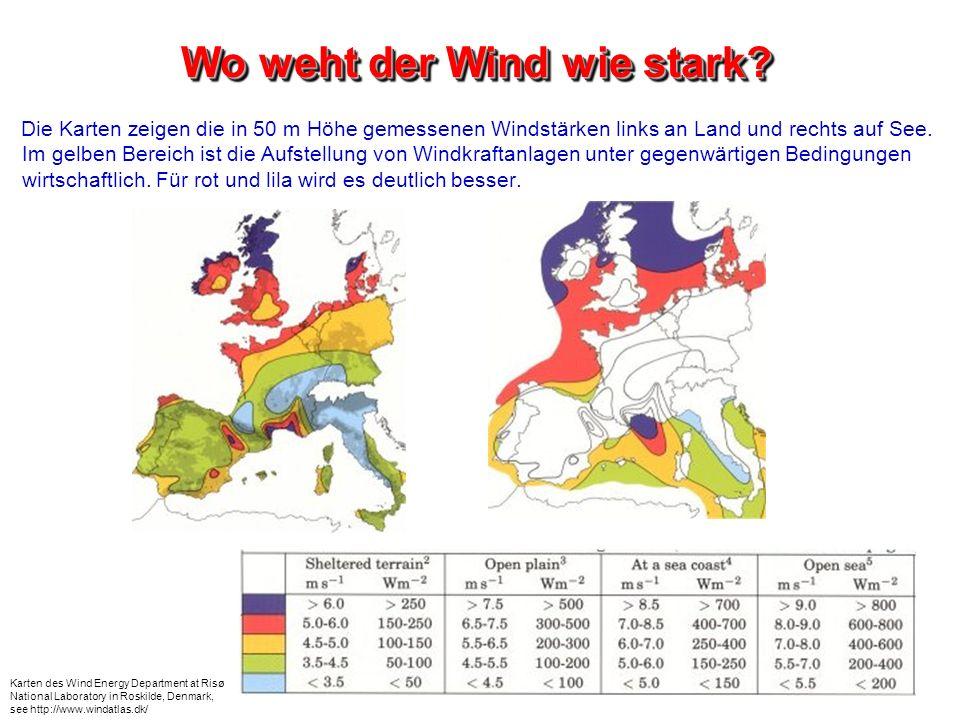 Wo weht der Wind wie stark? Die Karten zeigen die in 50 m Höhe gemessenen Windstärken links an Land und rechts auf See. Im gelben Bereich ist die Aufs